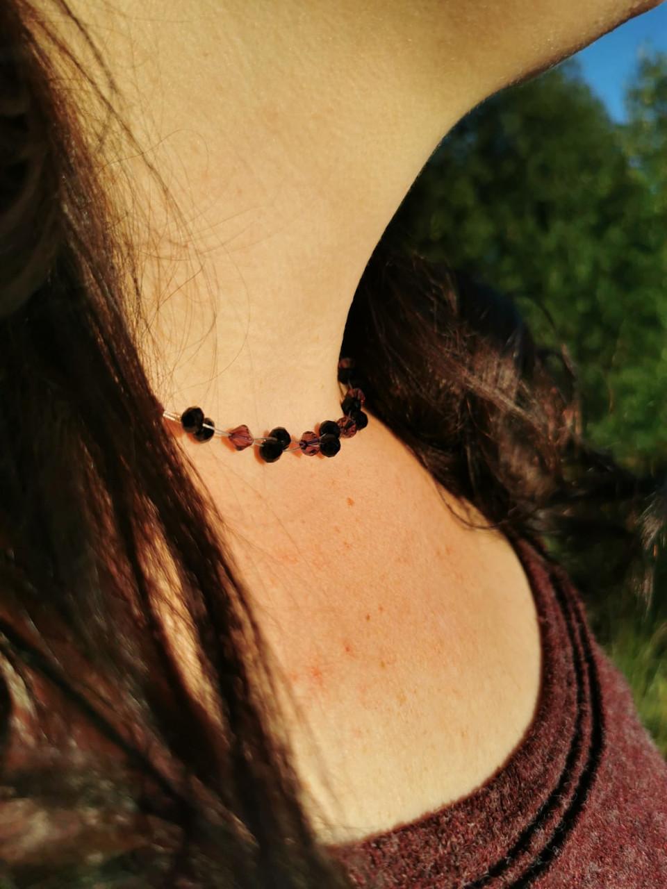 Halskette in lila und schwarz - schwarze und amethystfarbene Kette