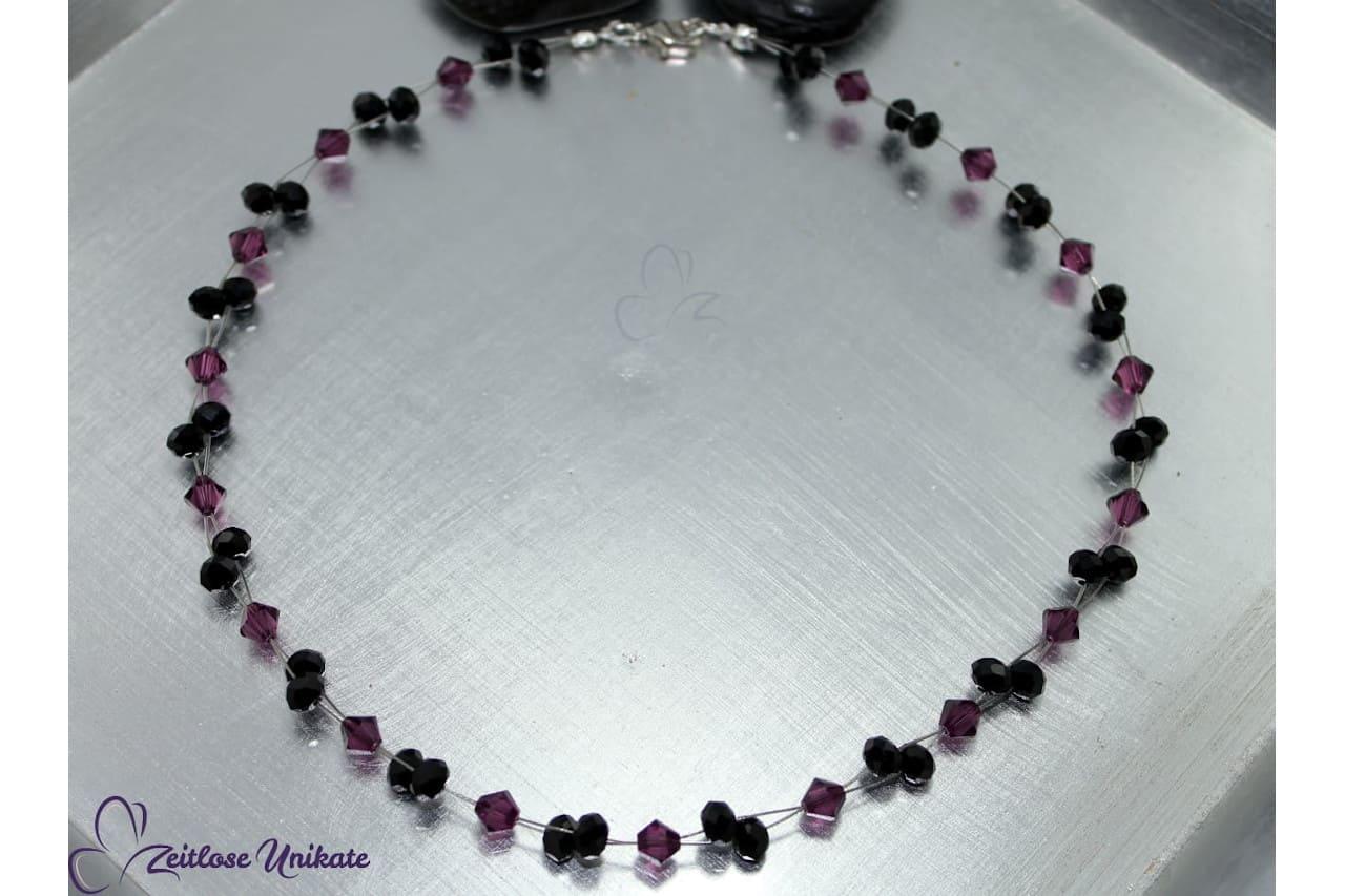 schwarz lila Kette, elegant! Beispiel
