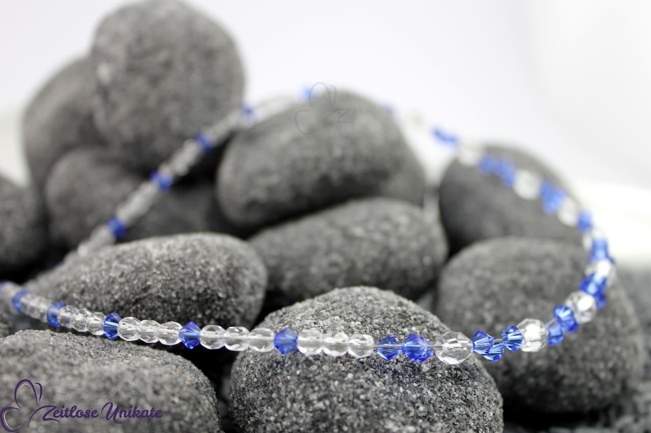 transparend safirblau, farbintensive, ausgefallene Kette