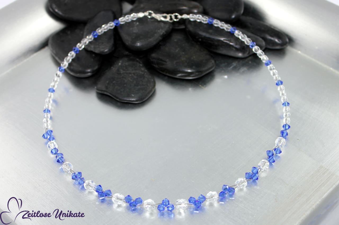 interessante elegante Halskette in safir blau und kristallklar
