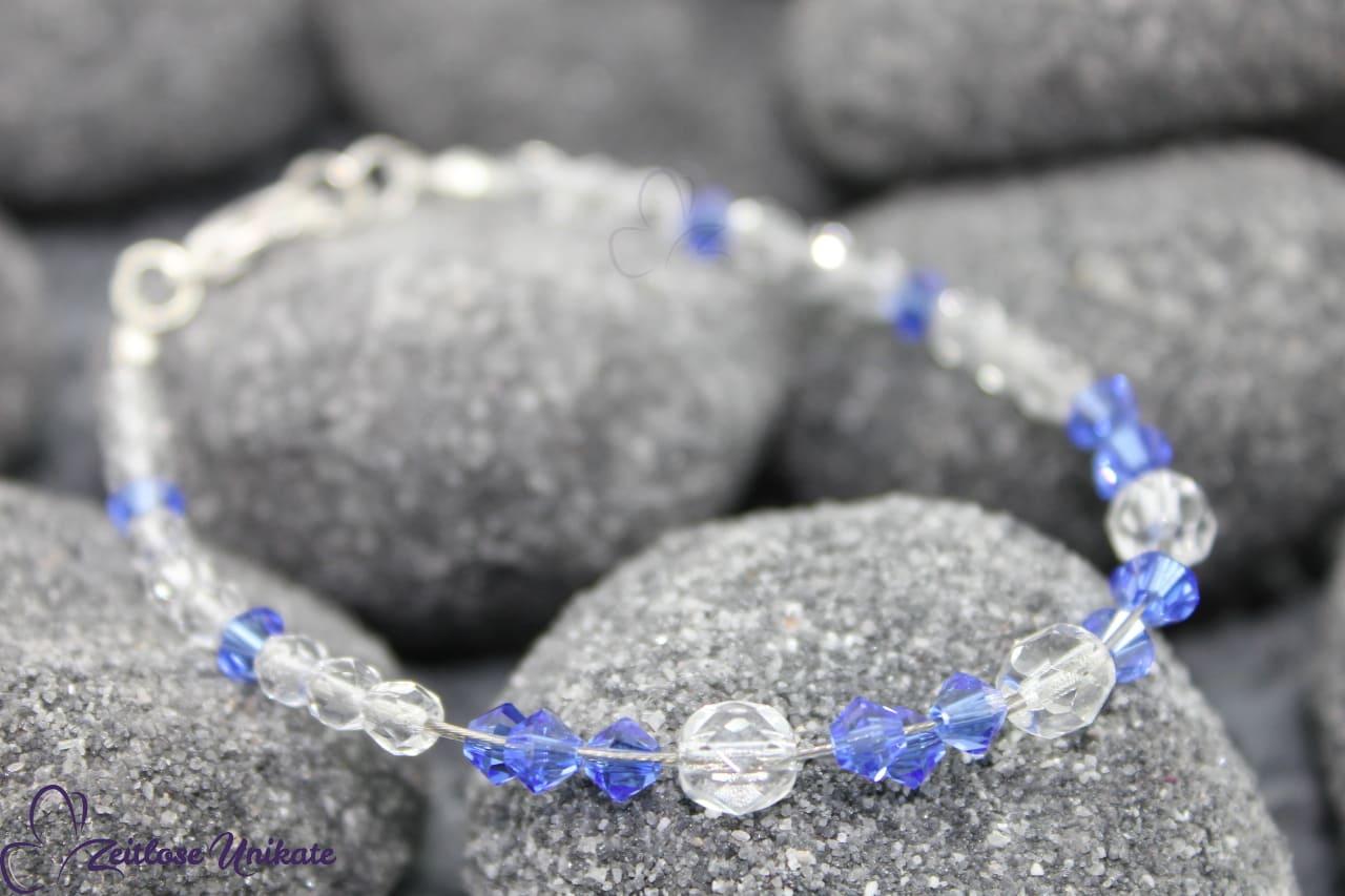 kristallklar und safir blaues Armband
