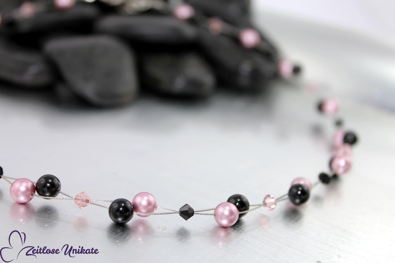 Kette in rosa und schwarz, luftige Halskette für jeden Anlass