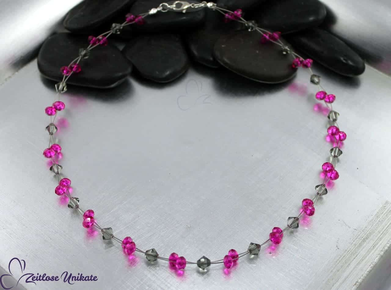außergewöhnliche Kette in grau rosa pink