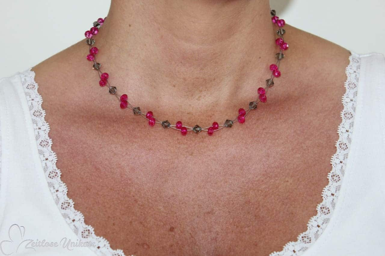 Kette pink grau glitzer funkel Halskette