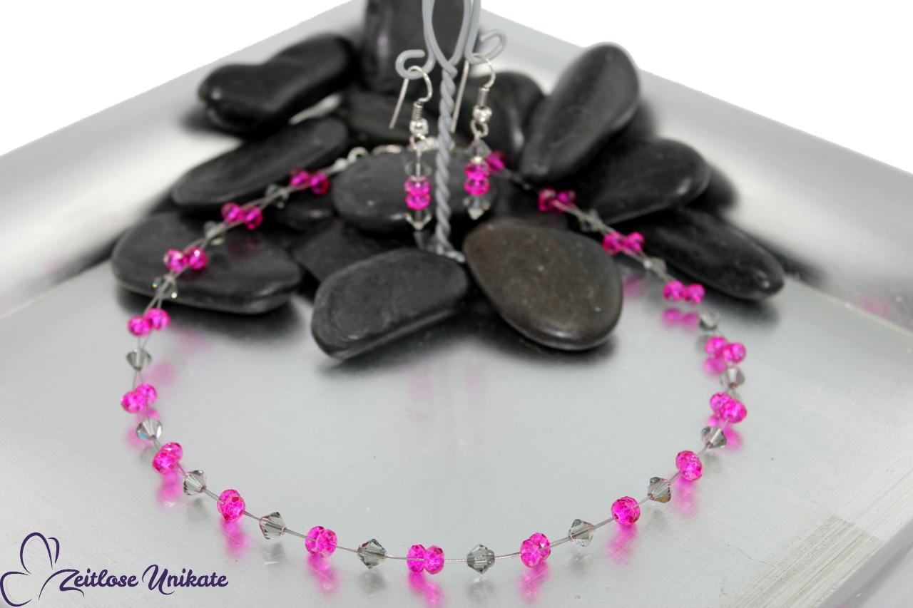 Halskette in rosa pink und grau