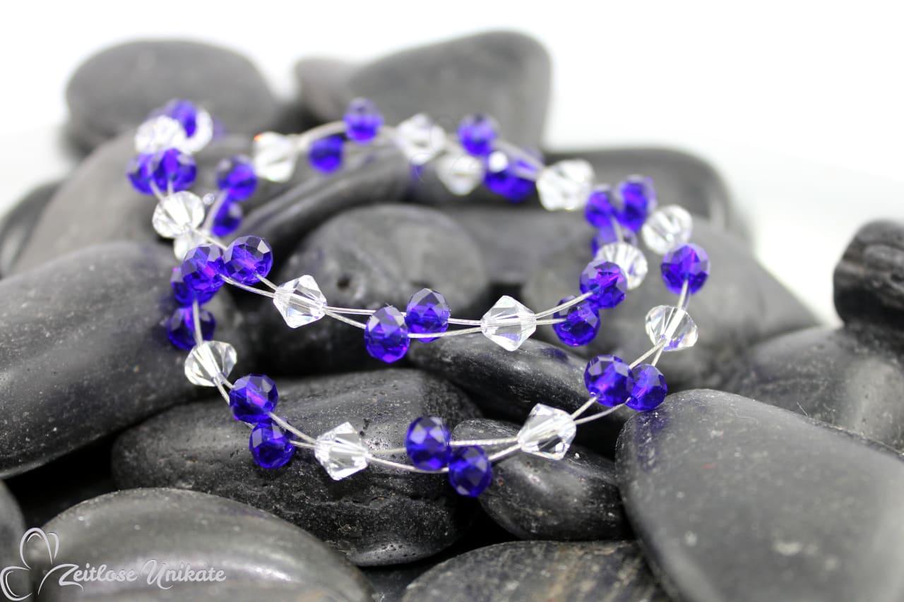 Kette in safirblau und kristallklar