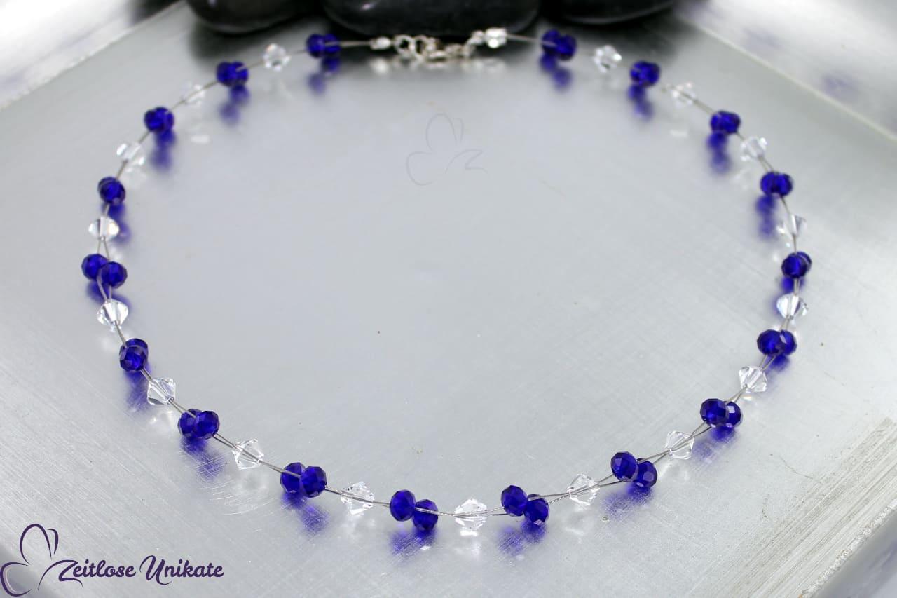 Halskette in safir blau und kristallklar