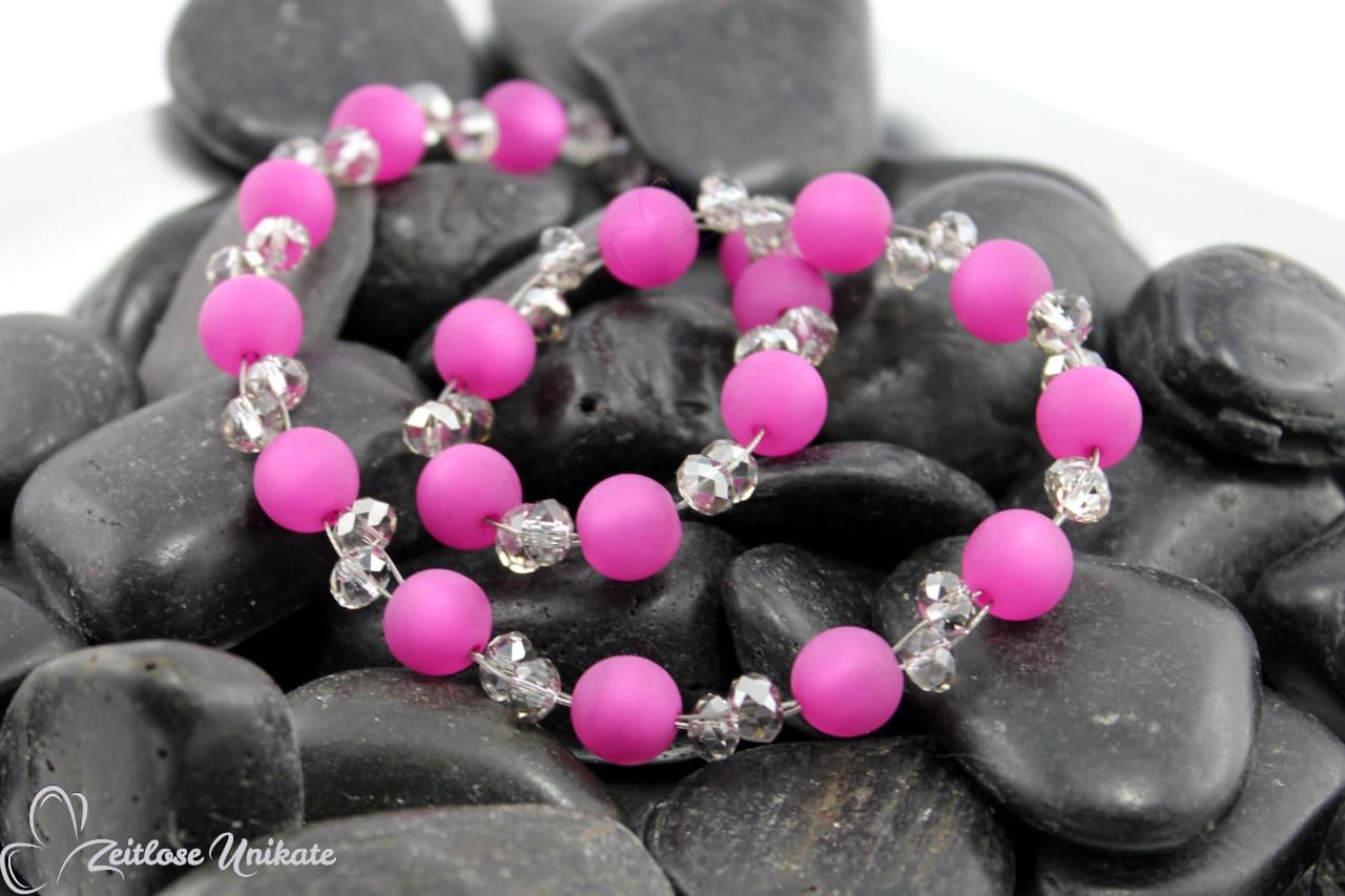 opulente elegante Halskette in poppig rosa und elegantem grau