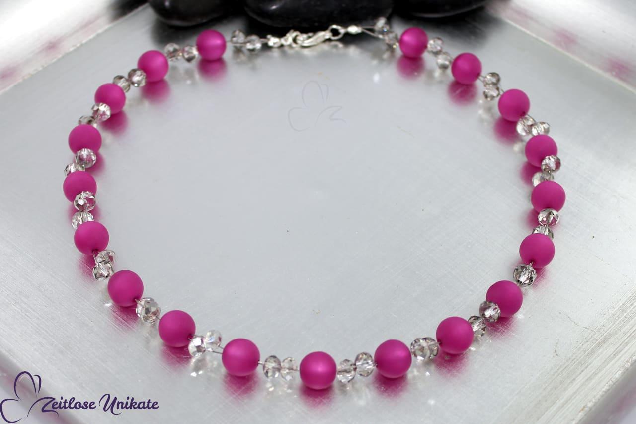 glitzernde Glasperlen und matte Polarisperlen Halskette