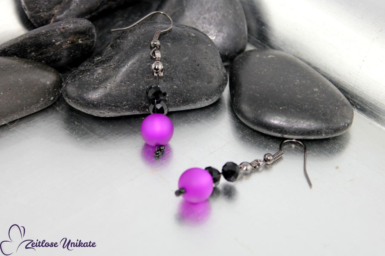 Opulente Ohrringe lila schwarz, in über 50 Farben möglich