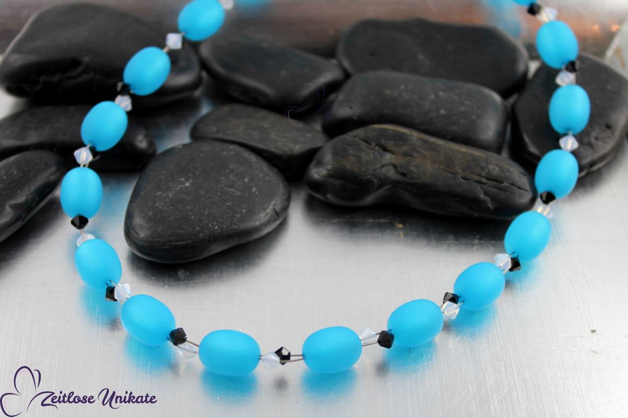 Halskette türkis schwarz - Halsschmuck für jung und alt je nach Farbe