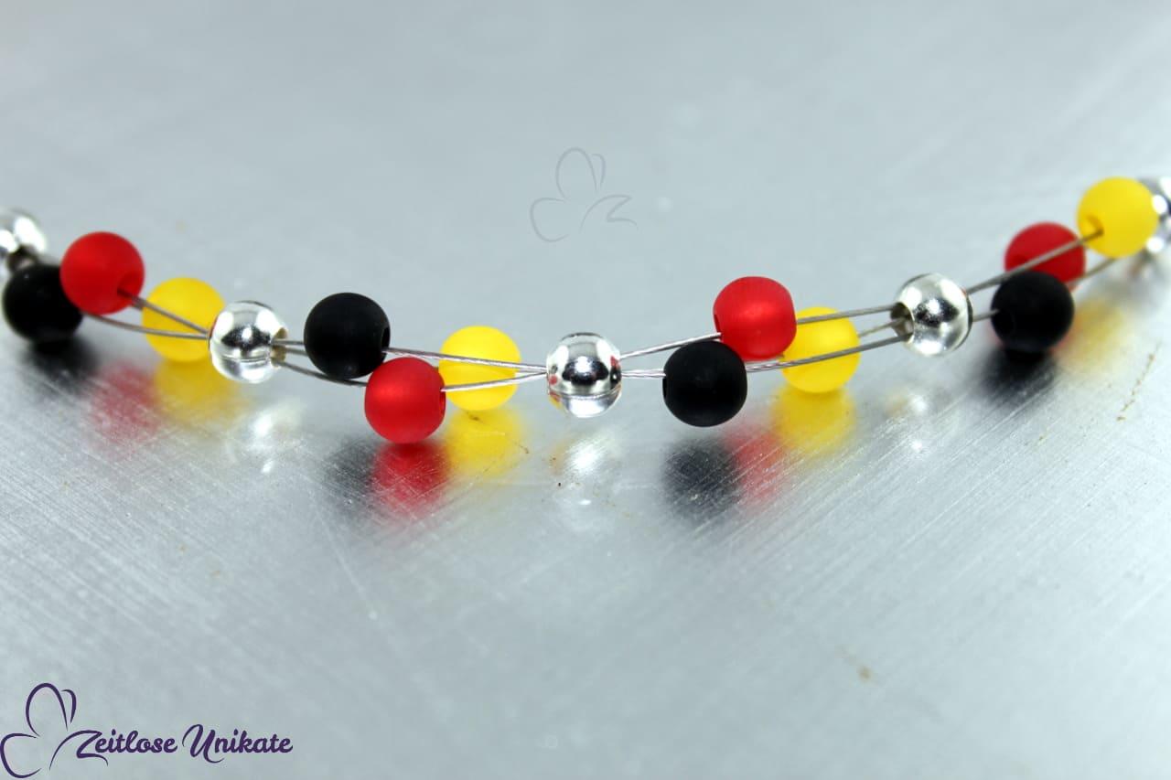 schwarz, rot, gold, Halskette sommerlich