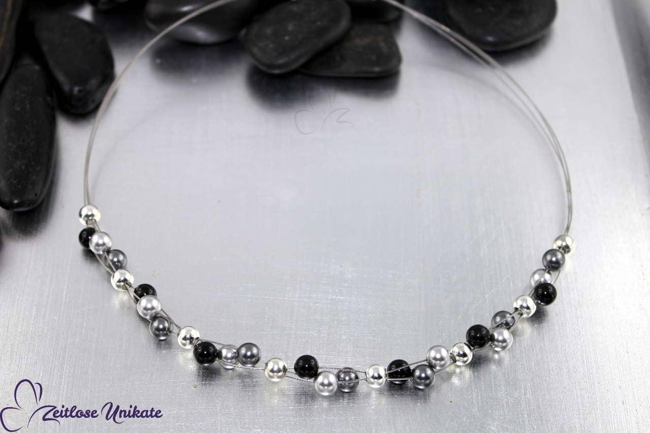 Halskette für alt und jung nach Farbkombination hier hellgrau, grau / dunkelgrau & schwarz