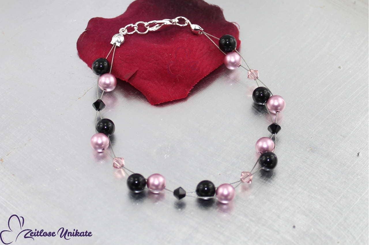 Armkette rosa schwarz