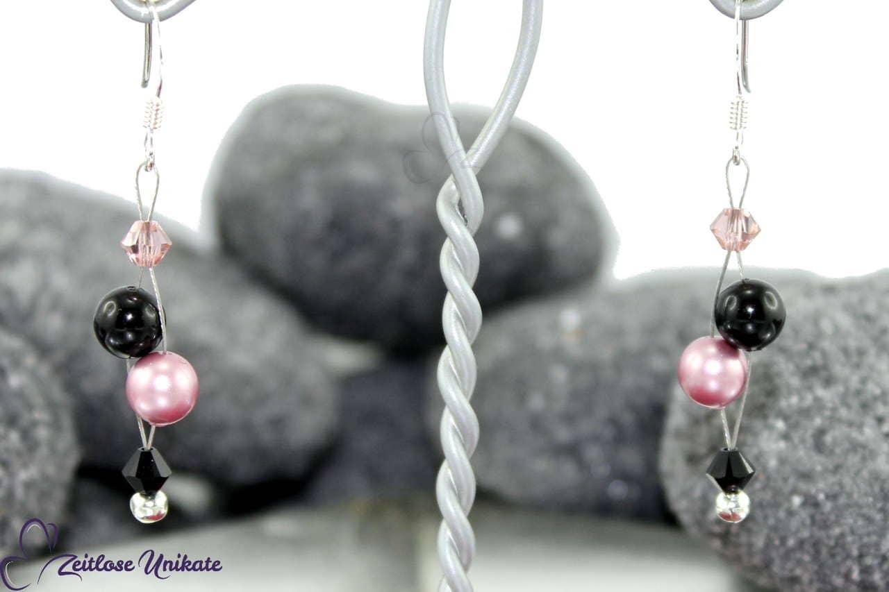 Ohrringe luftig rosa schwarz