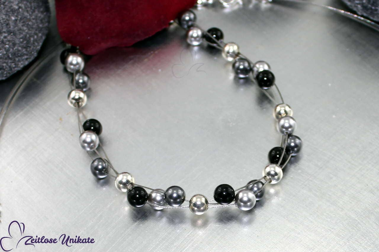 sportlich elegantes Armband, modern schwarz grau