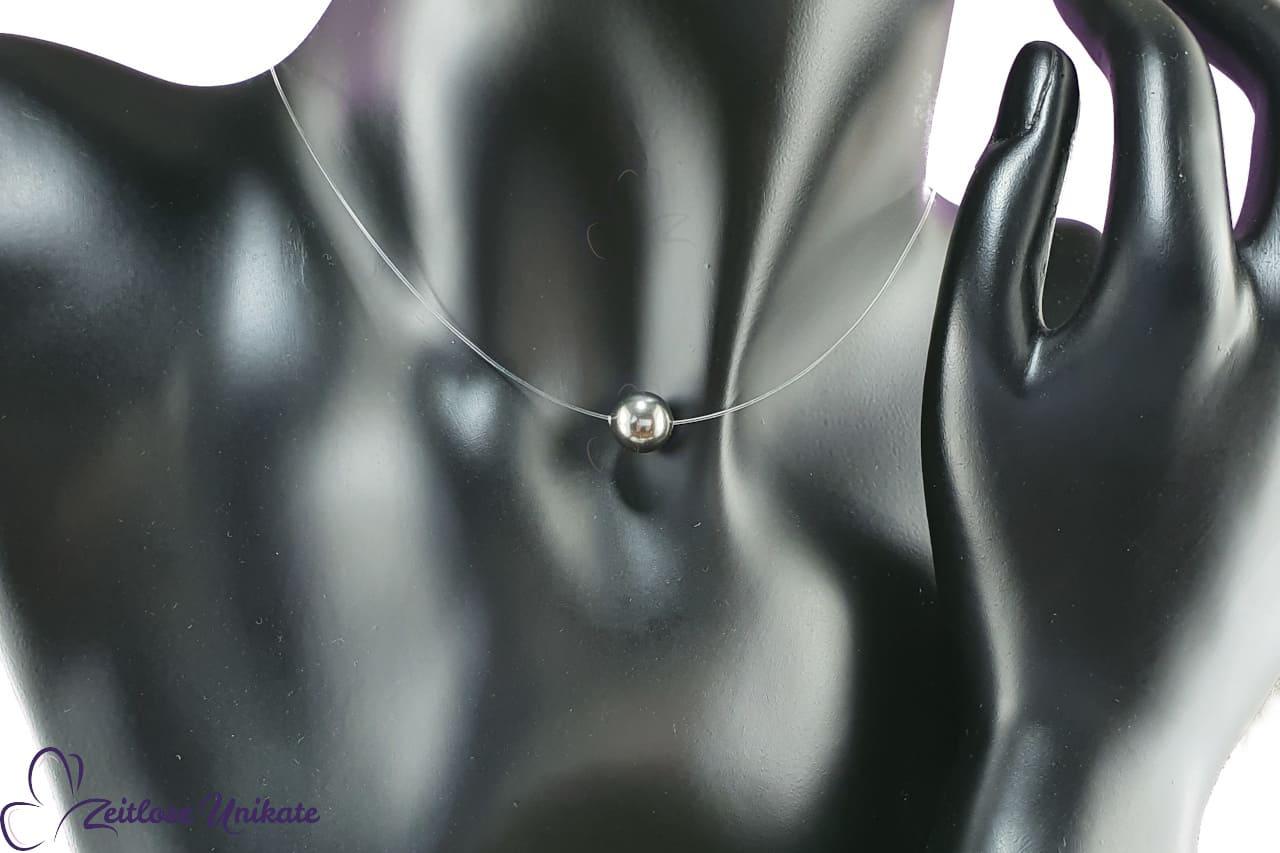 schwebende Perle in anthrazit, Halskette schlicht