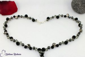 YKette schwarz grauer Brautschmuck, opulent