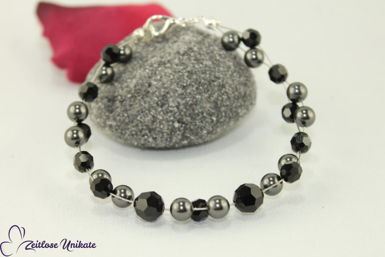 Trauzeugin Armband schwarz aus Swarovski Perlen