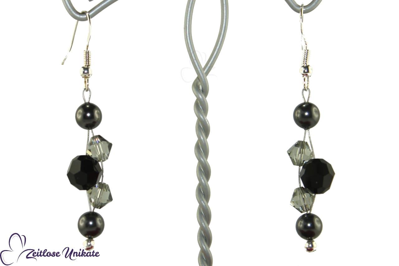 grau schwarze Brautohrringe, Gothicbraut
