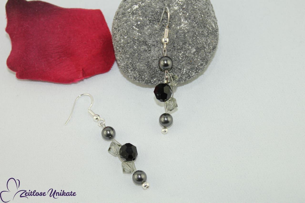 schwarz graue Ohrringe, Brautschmuck opulent