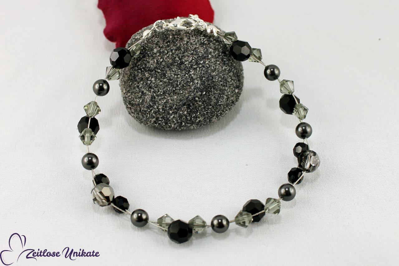 Fusskette schwarz grauer Brautschmuck, opulent