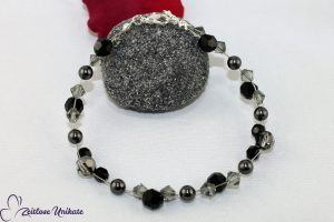 Fussschmuck schwarzer Brautschmuck graue Perlen