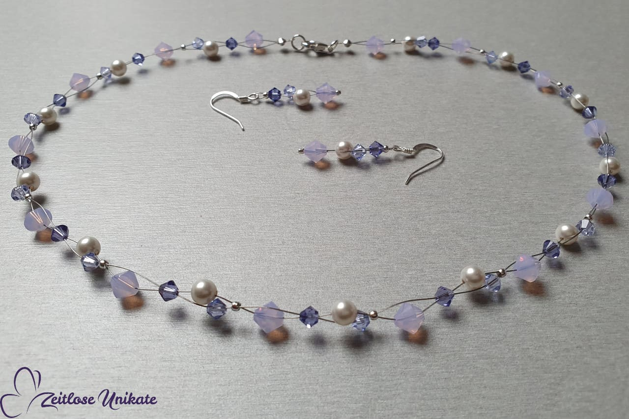 Kette und Ohrringe flieder lila, tansanit violett