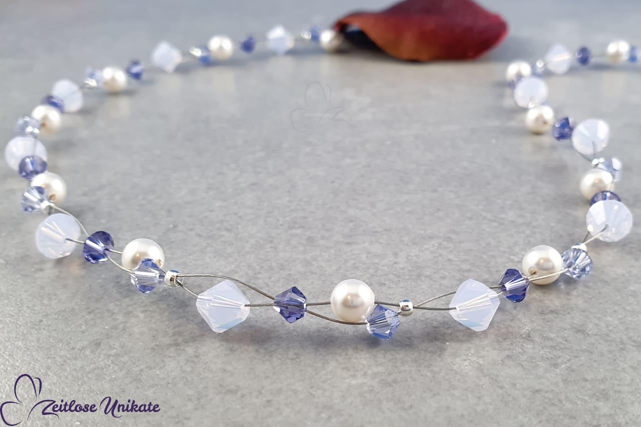 Halskette weiß, tansanit und flieder lila, zarte Kette