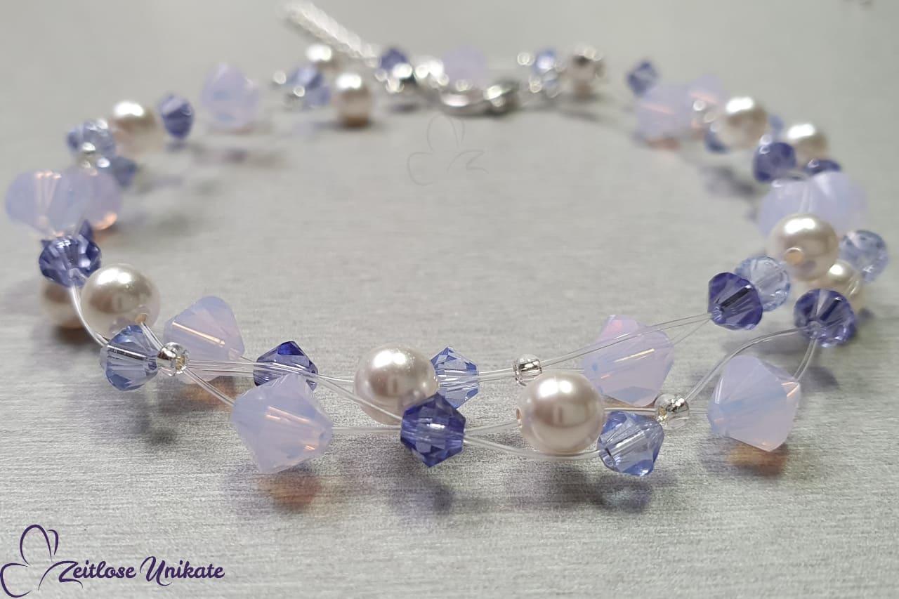 wunderschöne Halskette in weiß lila Tönen Kette Lavendel