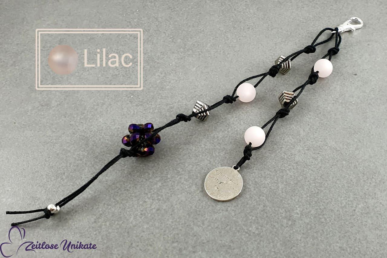 Schlüsselanhänger schwarz tibetsilber lilac