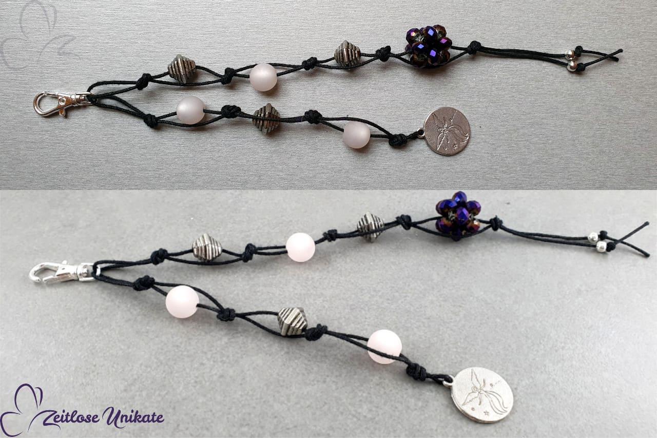 Taschenanhänger lila schwarz silber Engel