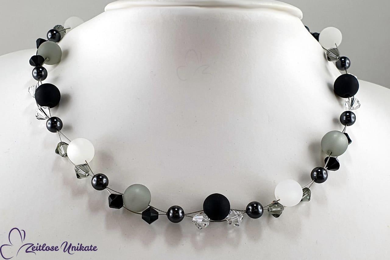 elegantes Collier in schwarz weiß grau, Polariskette Testbildfarben