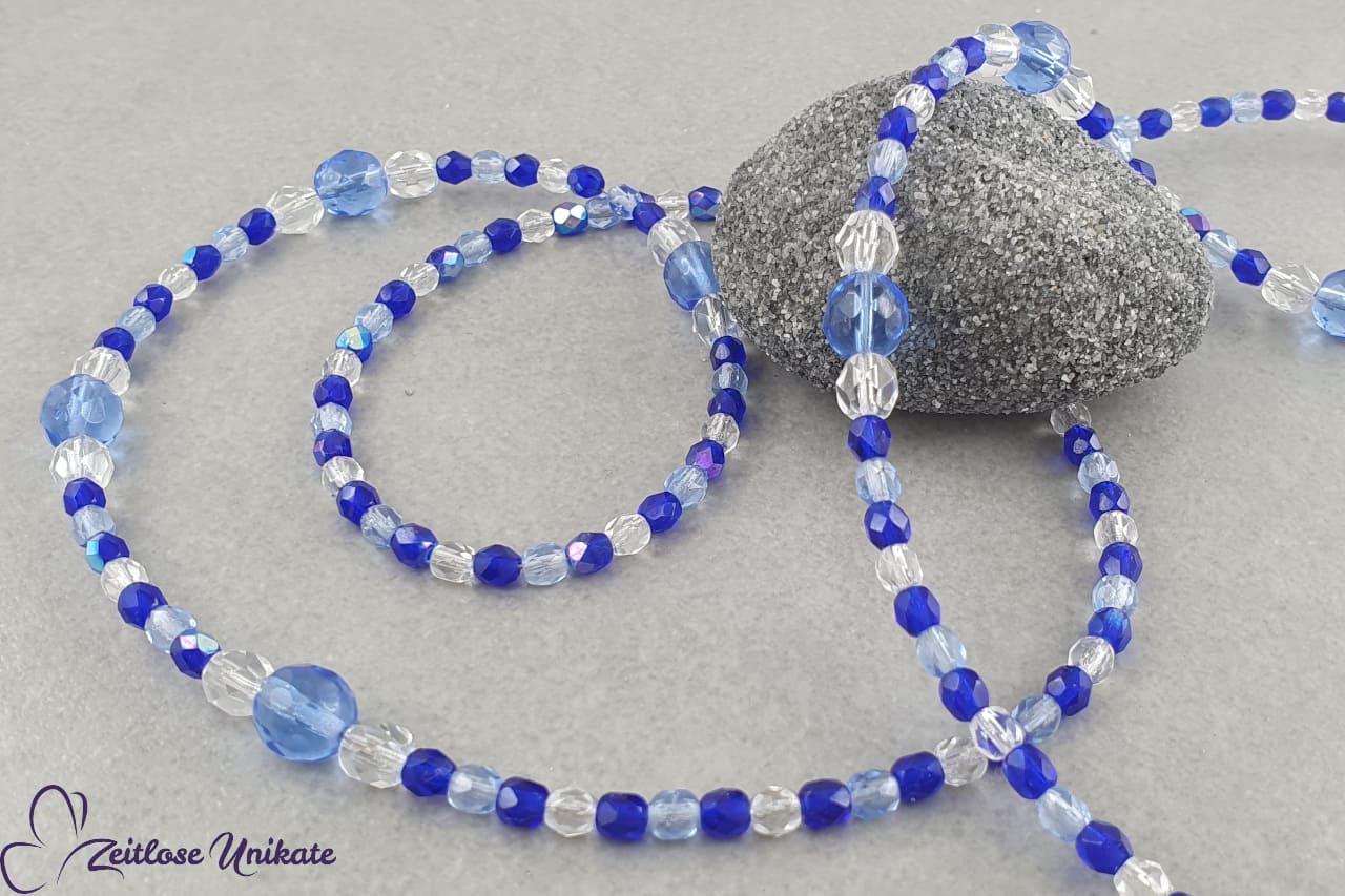 Brillenband in zauberhaften blau Tönen - Silikonösen