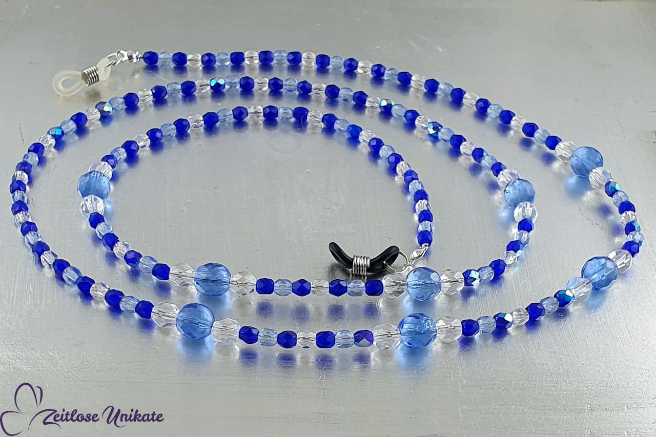 Wunderschöne Brillenkette in blau Töne