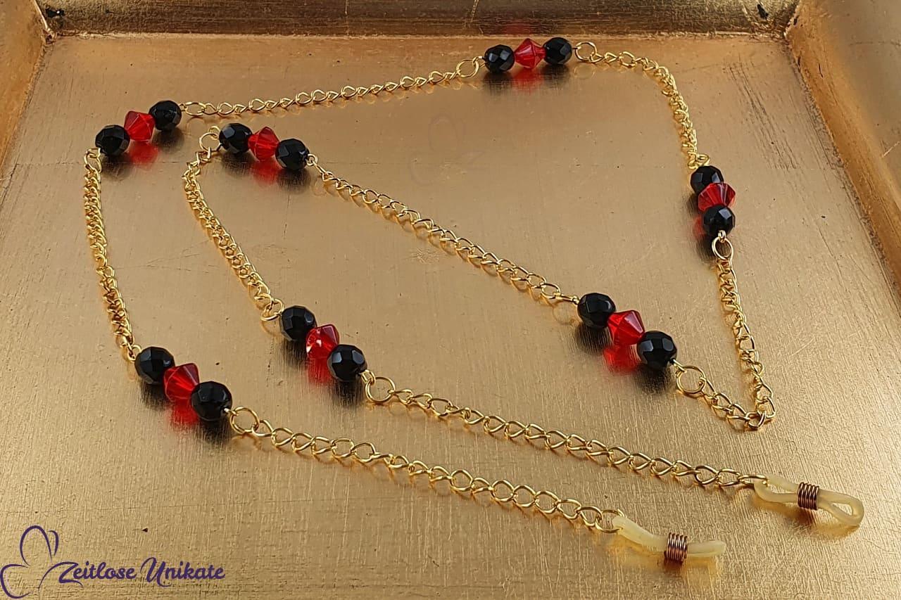Brillenkette kirschrot, gold und schwarz, Gliederkette & Perlen