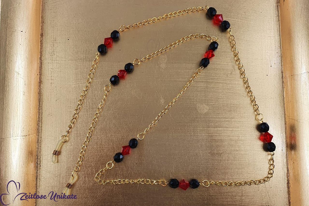 Brillenkette schwarz rot gold, Brillenkettchen schlicht