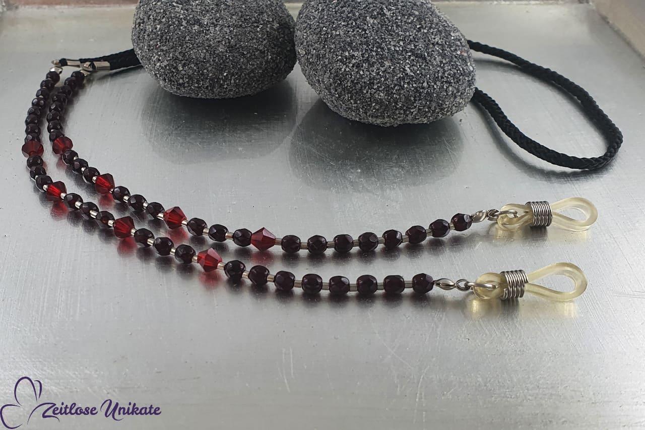Brillenband, Brillenkette rot schwarz Perlen schön