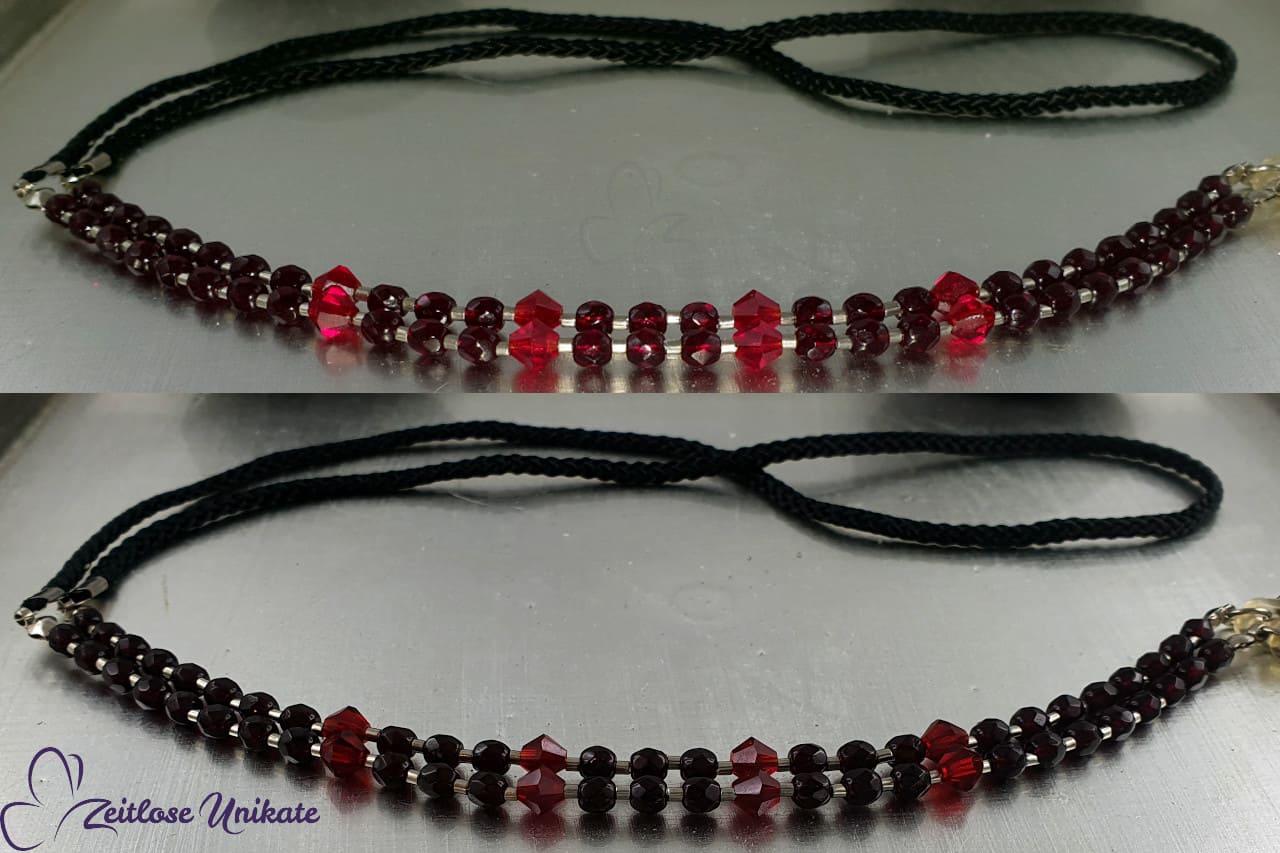 Brillenkette schwarz rot, Glasperlen blutrot - Gothic Kette
