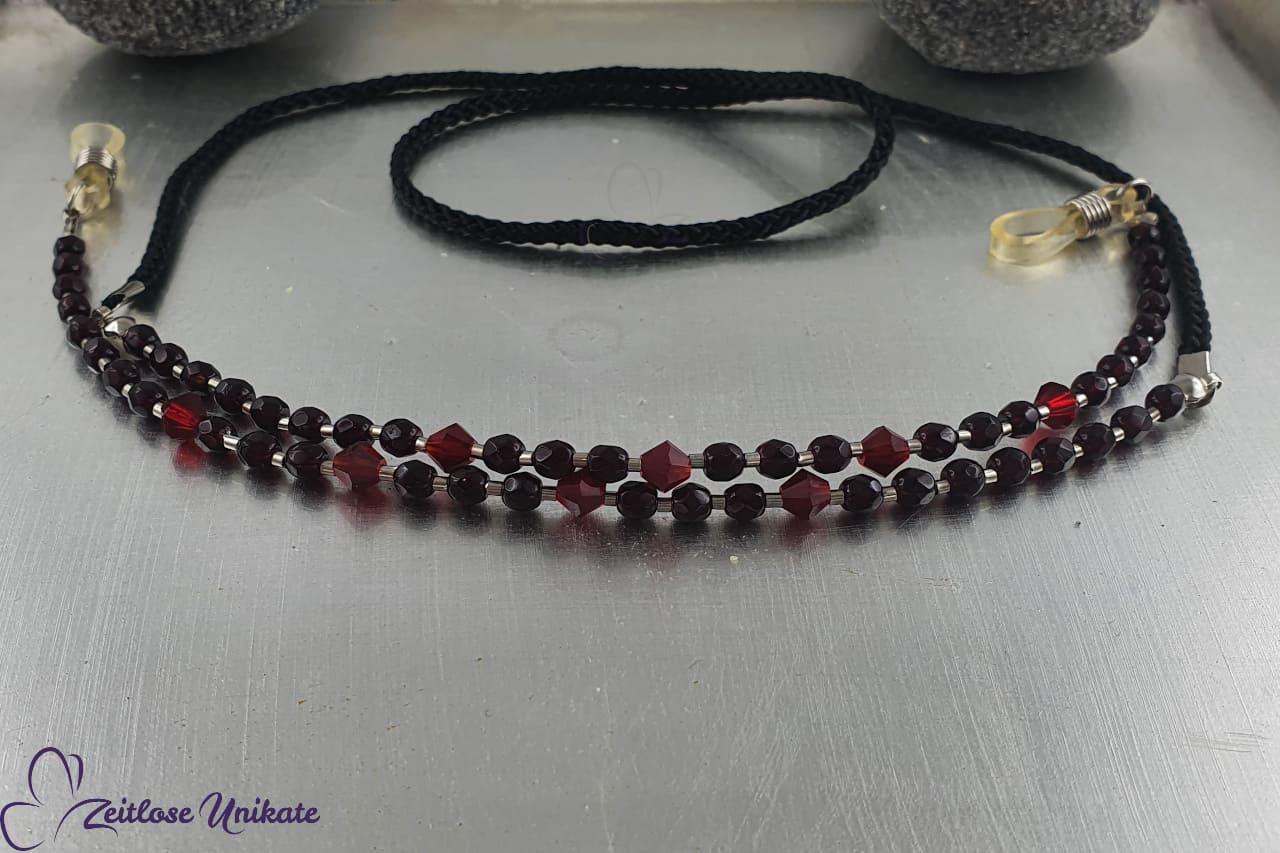 wunderschöne schwarz rote Brillenkette - Brillenband
