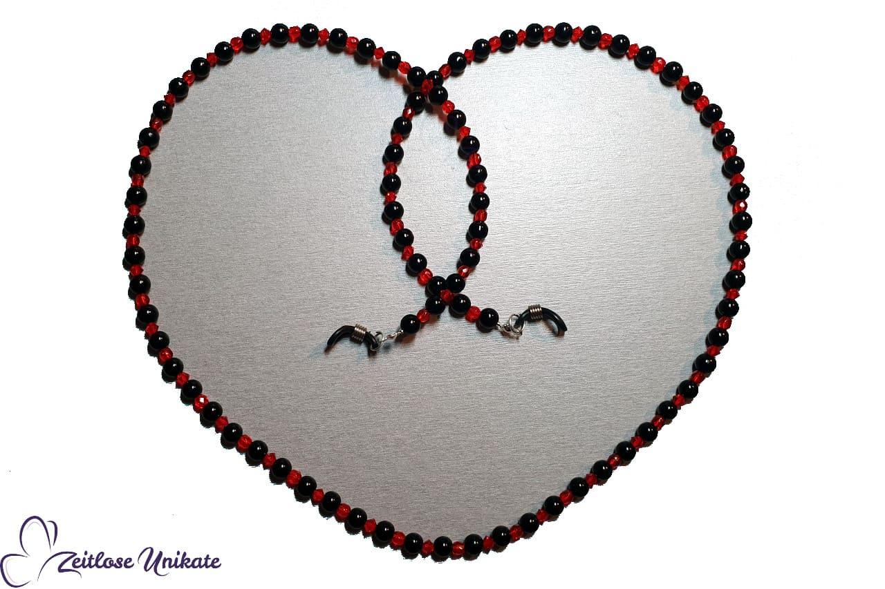 Blutrot und schwarz Brillenkette mit schönen roten Perlen