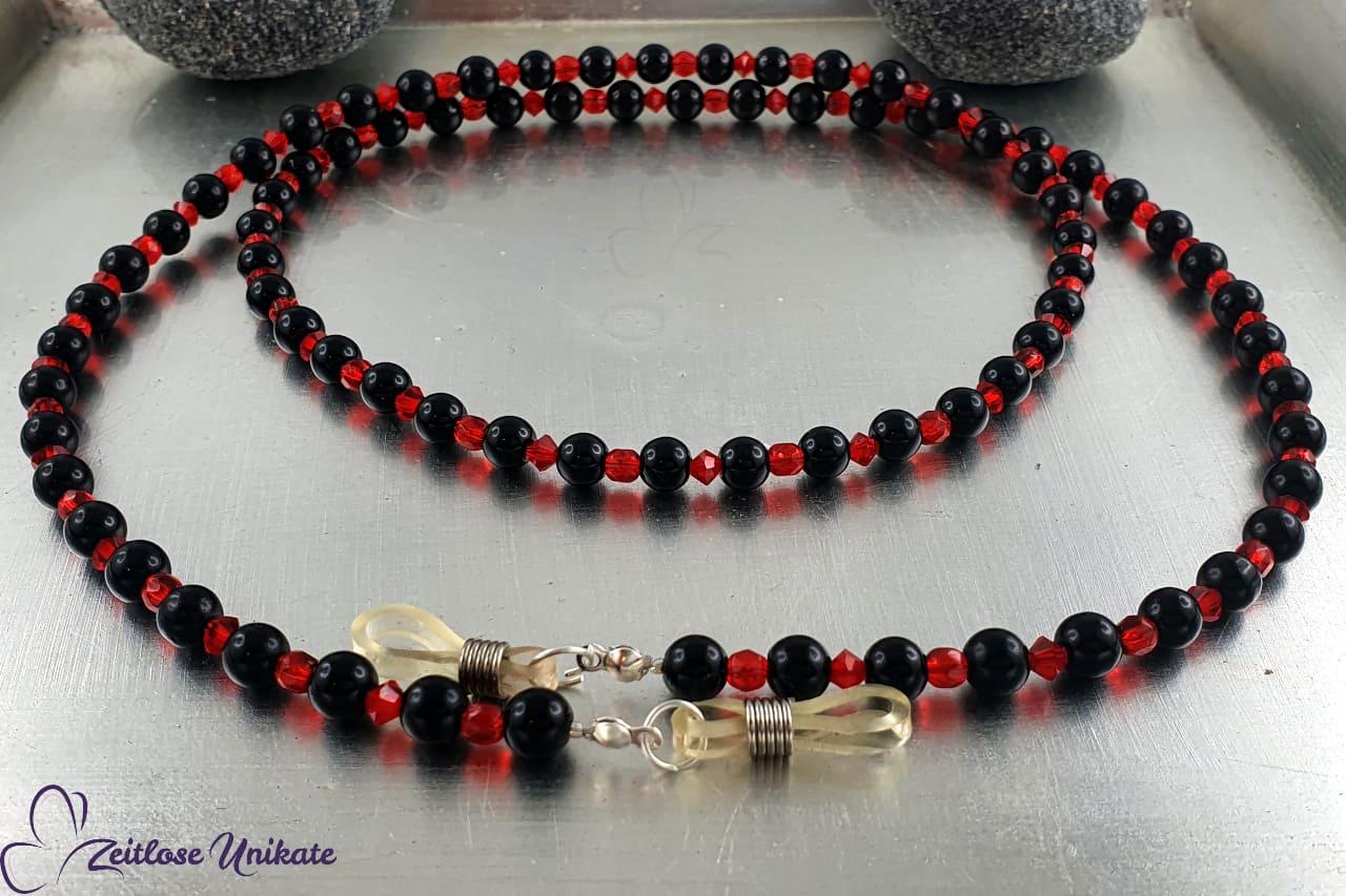 Brillenkette blutrot schwarz glitzer Perlenkette, elegant