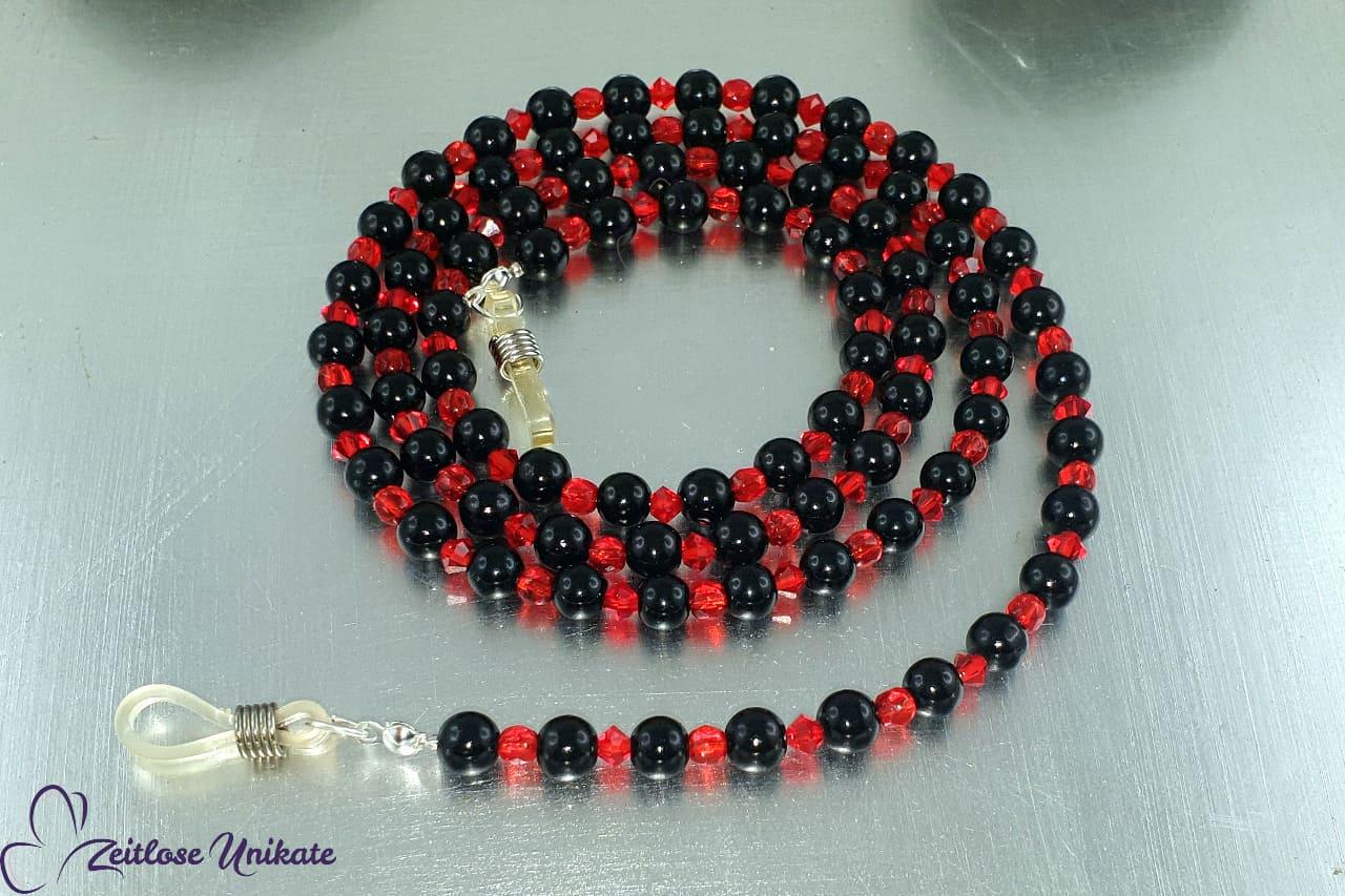 Brillenkette in schwarz funkeldem rot, Glasperlen Kette