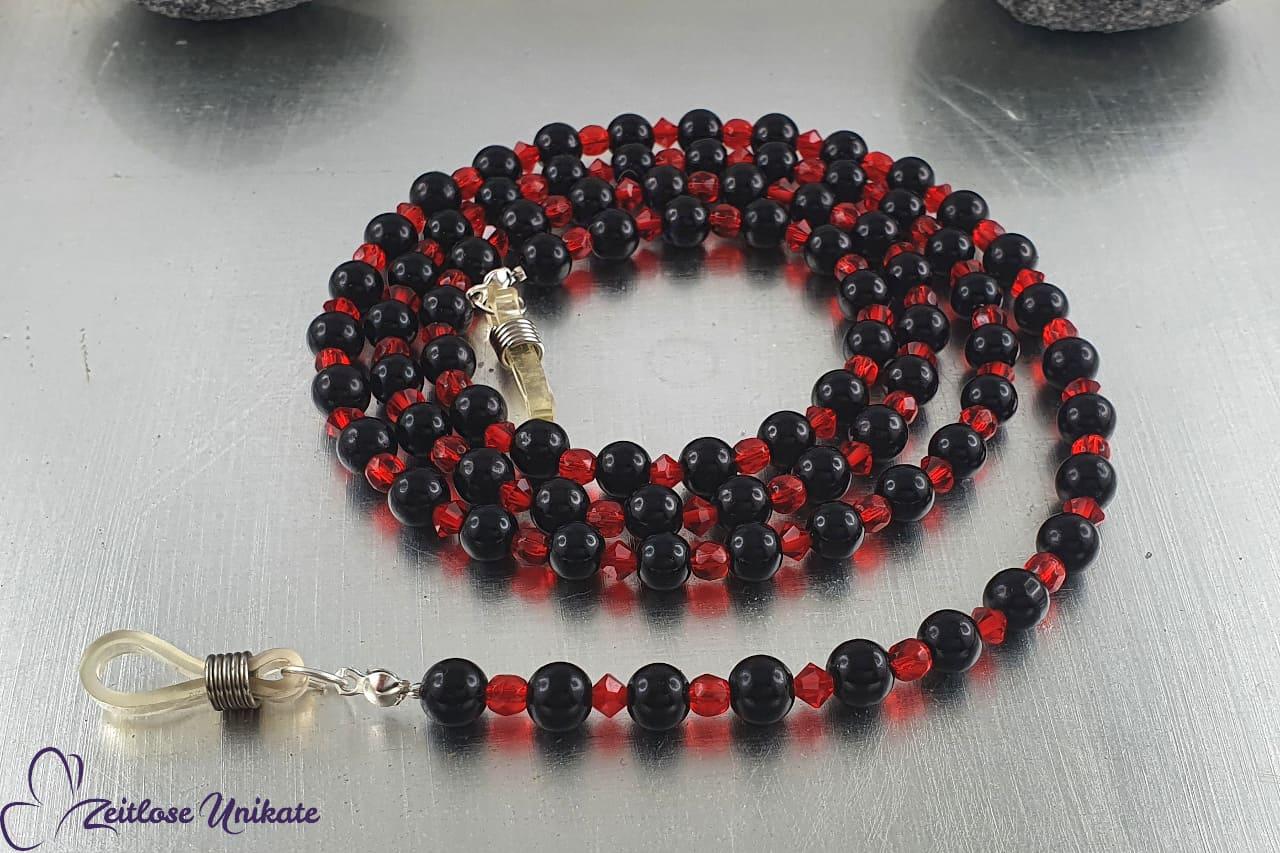 schwarz rotes Brillenband, elegante Glasperlen Kette