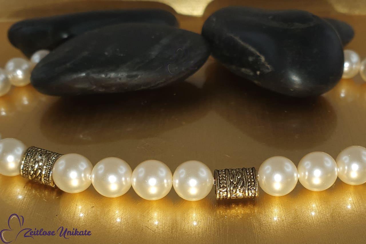 opulente Brillenkette weiß antikgoldfarben oder lange Kette