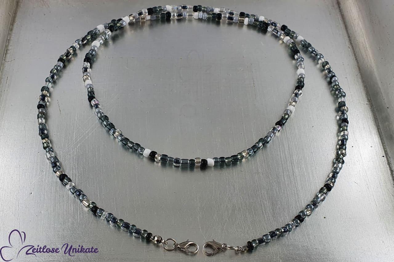 Maskenkette schwarz weiss grau Brillenkette