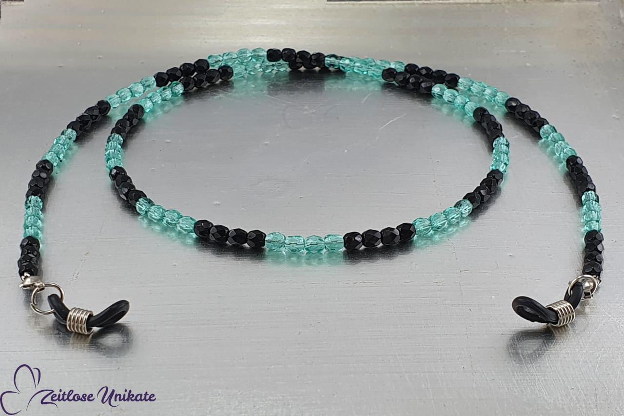Brillenkette blau schwarz sportlich elegant, schöne Glasperlen