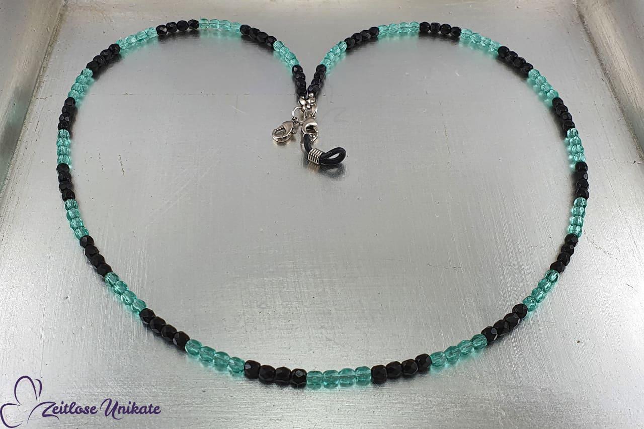 Brillenkette schwarz blau wunderschöne Glasperlenkette