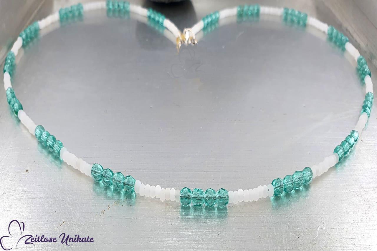 Maskenkette Brillenkette oder lange Kette blau weiss