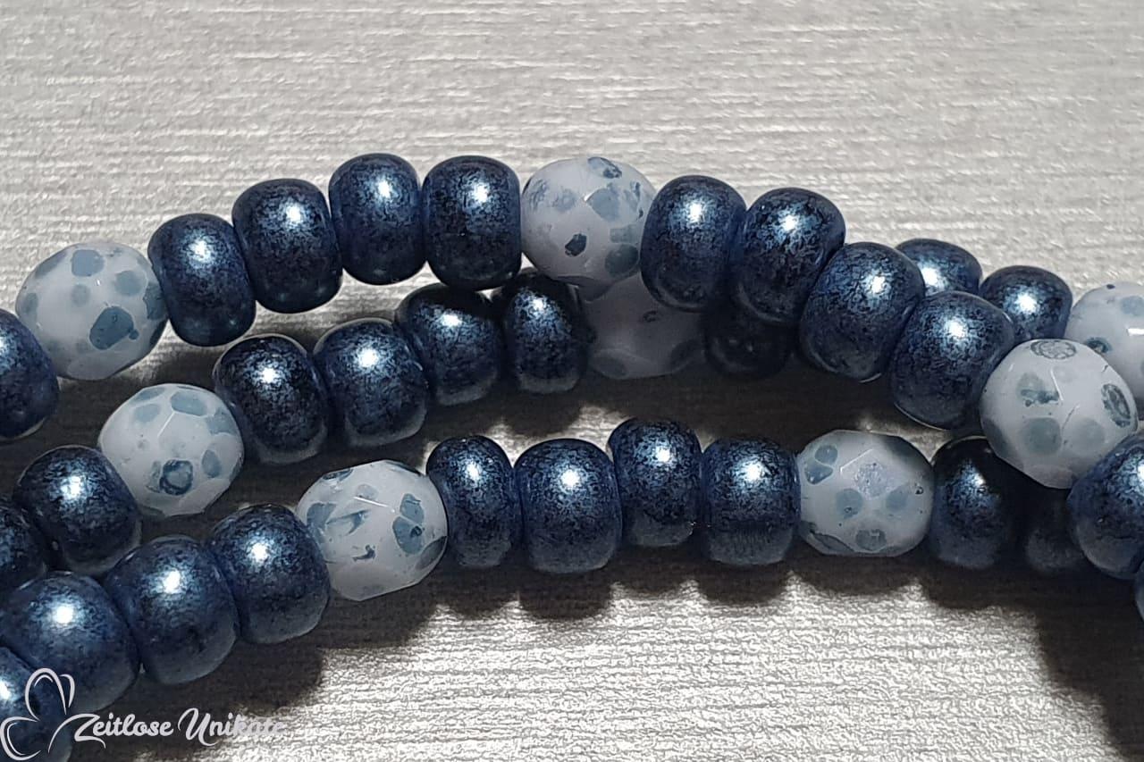 Eine für ALLE - Jeansblau weiße Kette, Brillenkette, Maskenkette